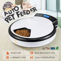 5-Meal Auto Pet Feeder Dog/Cat Bowl Automatic Food Dispenser with LCD Display 1.2L - White