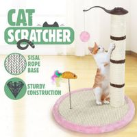 Cat Scratching Pole Tree Pet Climbing Frame Scratcher with Toys 53CM - Pink