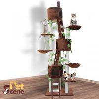 9 Level 260cm Cat Tree Scratching Post Scratcher Pole Brown