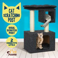 2-Level Cat Tunnel House Scratching Post Climbing Frame Pet Scratcher Barrel