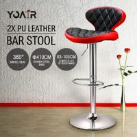 2x New PU Leather Bar Stools Gas Lift Kitchen Dining Chair  Red