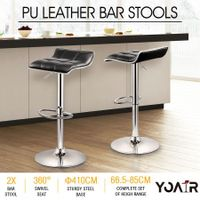2x New Slim PU Leather Bar Stools Gas Lift Kitchen Dining Chair -Black