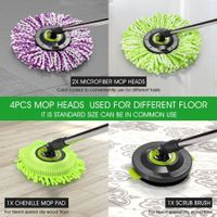 DR FUSSY Replacement Spin Mop Microfiber Mop Heads & Scrub Brush Attachment 4pcs/set