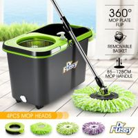 DR FUSSY Spin Mop Bucket System - Microfiber Mop with Easy Wringer Bucket
