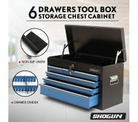 SHOGUN Tool Chest 6-Drawer Rust Resistant Storage Cabinets with Lock - Blue and Black