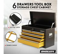 SHOGUN Tool Chest 6-Drawer Rust Resistant Storage Cabinets with Lock - Yellow and Black