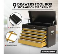 SHOGUN Tool Chest 9-Drawer Rust Resistant Storage Cabinets with Lock - Yellow and Black