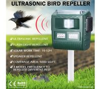 XL Size Ultrasonic Bird & Animal Pest Repeller with Large Solar Power Plate