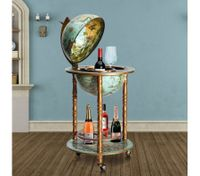 Deluxe Handcrafted Globe Bar Cabinet Wine Rack Drinks Trolley