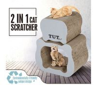 Cat Scratching Post Corrugated Cardboard Scratcher 2PCS Scratchboard - Cat-Head Shape