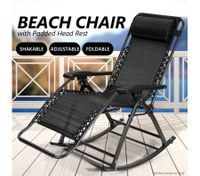Reclining Chair Sunbed Beach Chair Rocking Chair with Padded Head Rest - Black