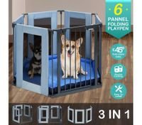 3-in-1 Metal Safety Playpen with Double Locking System & Mat - Dark Grey