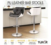 2x Large Seat PU Leather Bar Stools Kitchen Dining Chair Barstool Gas Lift  Black