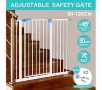 Child Pet Safety Gates Adjustable Baby Gate with A 30CM Extension Barrier 100CM Height 80~120CM Width - White