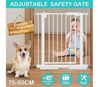 Child Pet Safety Gates Adjustable Baby Gate with 77CM Height 75~85CM Width - White