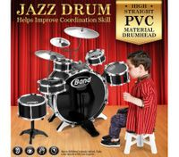 Jazz Drum Kit Toy Set Musical Instruments with 6 Drums & 3 Cymbals Black