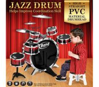 Jazz Drum Kit Toy Set Musical Instruments with 6 Drums & 3 Cymbals Red