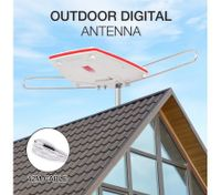 Outdoor Antenna UHF/VHF/FM 360 Degree Rotating HDTV Aerial with Infrared Remote Control & Booster