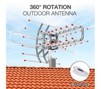 Outdoor Antenna UHF/VHF/FM 360 Degree Rotating HDTV Aerial with Infrared Remote Control & Dust Cover