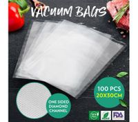 Vacuum Seal Bags 100PCS 20 x 30CM Embossed Pre-cut Food Saver Bags for Vacuum Sealers