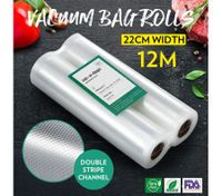 Vacuum Sealer Rolls Bags 2 Rolls 22cm*600cm Sous Vide Foodsaver Double-Sided Twill Bag