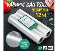 Vacuum Sealer Bags 2 Rolls 28cm*600cm Foodsaver Sous Vide Double-Sided Twill Bag for Vacuum Sealers
