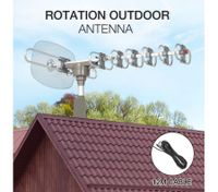 Outdoor Antenna UHF/VHF 350°  Rotating HDTV Aerial with Infrared Remote Control & 12m Cable
