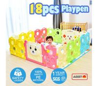 ABST 18-Sided Kids Play Pen Colorful Baby Playpen with Game Panel - Run Bear Series