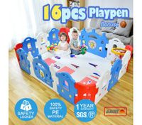ABST 16-Sided Kids Play Pen Colorful Castle-shaped Baby Playpen with Game Panel & Basketball Set