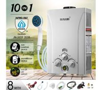 MAXKON 10 in 1 550L/Hr Portable Outdoor Gas LPG Instant Shower Water Heater - Silver