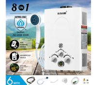 MAXKON 8 in 1 520L/Hr Portable Outdoor Gas Instant Shower Water Heater - White