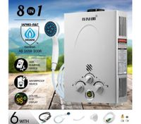 MAXKON 8 in 1 520L/Hr Portable Outdoor Gas Instant Shower Water Heater - Silver