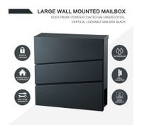 NEW Wall Mounted Mailbox Large Galvanized Lockable Letterbox with A Newspaper Slot - Black