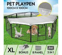8-Panel Pet Playpen Dog Cat Enclosure with Fabric Cover 100x100CM/ Panel - XL