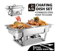 2 X 4.5L Bain Marie Stainless Steel Food Warmer Chafing Dish