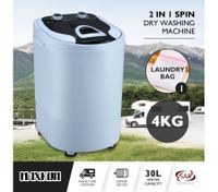 Maxkon 4KG Washing Machine Cleaner Mini Top Load Washer Dryer - White/Black