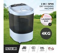 Maxkon 4KG Washing Machine Cleaner Mini Top Load Washer Dryer - White/Grey