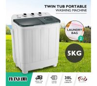 Maxkon 5KG Twin Spin Washing Machine Portable Top Load Washer Dryer - Grey