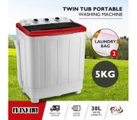 Maxkon 5KG Twin Spin Washing Machine Portable Top Load Washer Dryer - Red