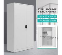 Filing Cabinet Lockable Steel Storage Cupboard with Hanger & Drawer