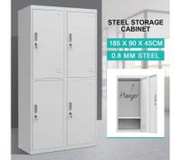 4 Doors Filing Cabinet Steel Lockable Storage Cupboard with Hanger - Grey White