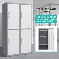 4 Doors Filing Cabinet Lockable Steel Storage Cupboard with Hanger - Dark Grey and White
