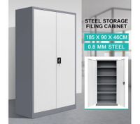 Filing Cabinet Steel Lockable Storage Cupboard w/4 Adjustable Shelves - Dark Grey and White
