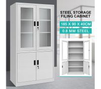 Filing Cabinet Lockable Steel Storage Cupboard w/2 Transparent Doors - Grey White