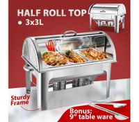 3 x 3L  Bain Marie Stainless Steel Food Warmer Half Roll Top Chafing Dish