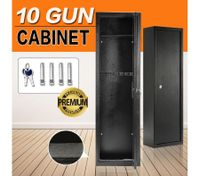 10 Gun Safe Firearm Rifle Storage Lockable Steel Cabinet w/Mounting Bolts & Floor Carpet
