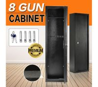 8 Gun Safe Firearm Rifle Storage Lockable Steel Cabinet w/Mounting Bolts & Floor Carpet