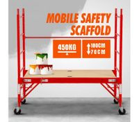 Safety Scaffolding Height-adjustable Work Platform 450KG with Lockable Wheels Red