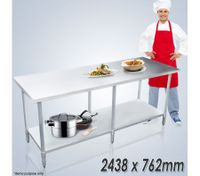 Stainless Steel Kitchen Work Bench & Catering Table (244cm x 76cm)