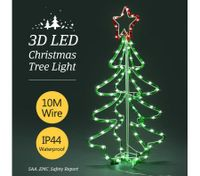 3D Christmas Tree Light 10M LED Rope Fairy Xmas Decor Figure -Green